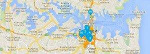 Карта поиска отелей для roomguru